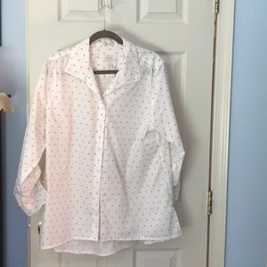 Chico's, White, orange polka dot shirt